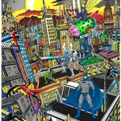Artwork Batman Rules the Night featuring Gotham City and characters from the comics
