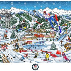 Artwork for the Pyeong Chang Olympics showing the mountains of Seoul with skiers and jumpers in the air
