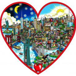 3D pop art of Manhattan inside the shape of a red heart