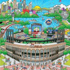 Baseball pop art of the new citifield