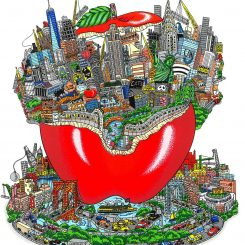 The island of Manhattan popping out of an apple