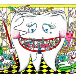 dental pop art with a big tooth and dental scenes around it