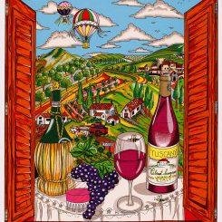 A 3d pop art of a vineyard in italy as seen through an open window