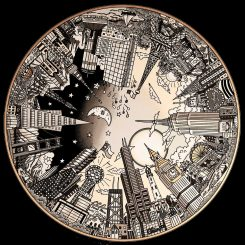 A 3D Cityscape of the world in the round colored in all black, white, and silver