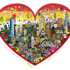 New York cityscape with video game characters above the city in a heart shape