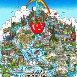 Big apple with rainbow going over the statue of liberty with other monumental worldwide landmarks and aNYC is the Apple of the World by Charles Fazzino, 3D Pop Artist