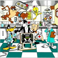 Looney Tunes doctor visit with Tweety Bird, Taz, bugs bunny, daffy duck, porky the pig using a stethoscope - Charles Fazzino 3D Pop Artist