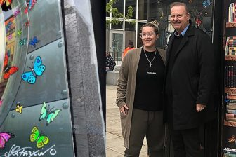 Charles and Heather Fazzino pose in front of their Stamford CT art collaboration