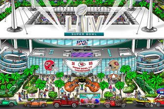 A poster featuring the LIV Super Bowl football stadium, surrounding Miami, and final scores