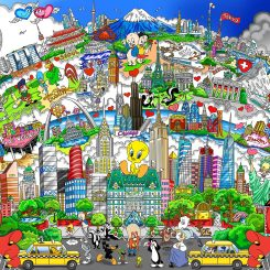 Colorful cityscape with Looney Tunes characters such as bugs bunny, tweety bird, daffy duck, and porky pig all hidden through the city by Charles Fazzion