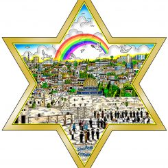 gold star outline with of riainbow and doves flying about the city of Jerusalem - pop artwork by Charles Fazzino